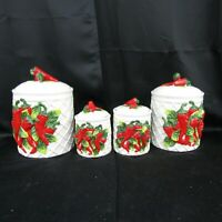 Set 4 Chili Pepper Ceramic Canisters 3D White Lattice Red Peppers Green Leaves