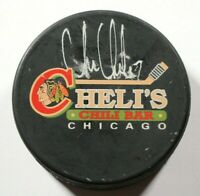 Chicago Blackhawks Chris Chelios Signed Autographed Cheli's Chili Bar Puck
