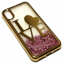 For iPhone X / XS- GOLD LOVE Pink Glitter Stars Liquid Water Sparkle Case Cover