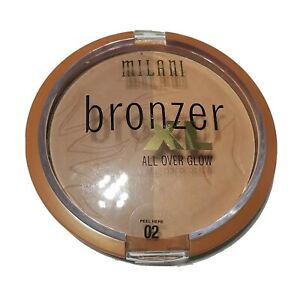 MILANI All Over Glow Powder Bronzer XL # 02 Fake Tan Two Tone Shimmer Makeup