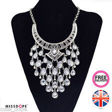 NEW SILVER CRYSTAL PEAR DROP STATEMENT NECKLACE CHOKER INDIAN WOMENS LADIES UK