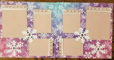 Pastel Snowflakes Pre Made Scrapbook Pages