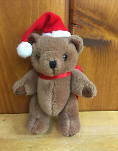 """Vintage 1990 Pizzazz by Ganzbros Jointed Plush Christmas Bear 6"""""""
