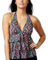 Swim Solutions Womens Santa Fe Print Tiered Halter Tankini Top 8 Multi Swimsuit