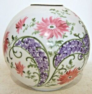 "Round Milk Glass Hurricane GWTW Lamp Shade Globe 4"" Fitter Purple & Pink Flower"