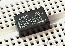 MEC TH-2CL2-12D DPDT Latching Relay, 12V, DIP, 1A 30VDC, 0.5A 125VAC, PCB