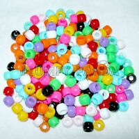 240 Assorted Mixed Bright Colors Plastic Pony Beads 9 mm