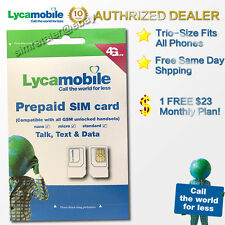 LycaMobile Prepaid Micro/Nano Sim Card Preloaded with $23 Plan Free 1st OneMonth