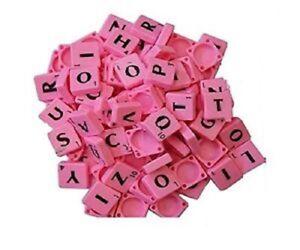 A-Z PINK Plastic Scrabble Tiles Letters Value For Art Craft Alphabets Toy UK