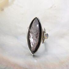 Hypersthen Ring, 925er Silber, Edelsteinring (21480), mit Mondstein