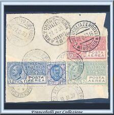 1926/28 Italia Regno Posta Aerea 3 valori Usati su Frammento n. 2A + 4 + 7