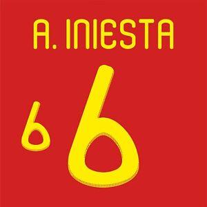 Iniesta 6. Spain Home football shirt 2010 - 2011 FLEX NAMESET NAME SET PRINT