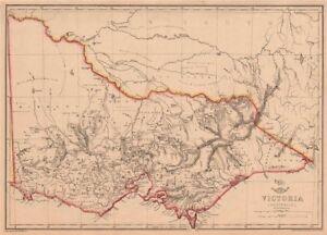 VICTORIA. Shows 1st Australian steam railway Geelong-Melbourne. WELLER 1862 map