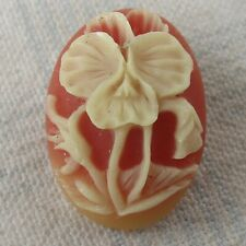 New listing Outstanding, Beautiful Molded Oval Glass Button w Flower in Relief