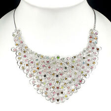 REAL Tourmaline Chrome Diopside Zircon 14K ON 925 Sterling Silver BIB Necklace