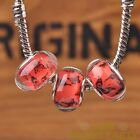 10pcs 14mm Fit European Bracelet Resin Butterfly Pattern Big Hole Bead Red