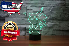 Pokemon Pikachu 3D LED Night Light Optical Illusion Visual Lamp 7 Colors Touch