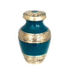 Well Lived® Green and Brass Small Keepsake Cremation Urn for human ashes