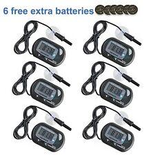 6 pcs LCD Digital Fish Aquarium Thermometer Water Black Free Extra Batteries