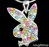 18K WHITE GOLD PLATED RABBIT BUNNY PENDANT NECKLACE USE COLOUR SWAROVSKI CRYSTAL
