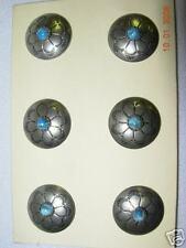 "SOUTHWEST METAL BUTTON lot coat Silver Pattern 3/4"" Wire Turq Center Shank  20 p"