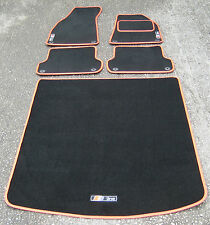 Black/Red SUPER VELOUR Car Mats- Audi A4 B6/B7 (01-08) + BOOT MAT + S-Line Logos
