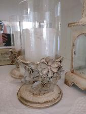 Van Deurs *Windlicht *antique creme *m. Blütendeko*  Metall * Glaszylinder *
