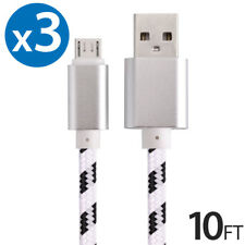 3x Micro USB Fast Charger Data Sync Cable Nylon Braided Cord for Samsung Android