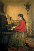 """oil painting 100% handpainted on canvas """"Woman Playing the Piano"""""""