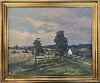 Oil Painting Impressionist Theodor Kjølner 1886-1972 Wide Summer Landscape 51x61