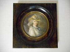 GRANDE MINIATURE ANCIENNE.Portrait de la Duchesse du Devonshire.Signé.XIX°.