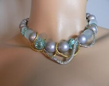 Alexis Bittar Pearl, Glass, Swarovski Crystal Gold and Silver-Tone Necklace $265