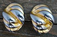 Vintage Clip On Earrings Signed CAROLEE Gold Silver Tone Costume Fashion Jewelry