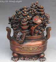"12"" China Pure Bronze Wealth Money Yuanbao Ruyi Cornucopia Treasure Bowl Statue"
