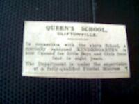 62-9 ephemera 1931 margate advert queen's school cliftonville kindergarten 3/1