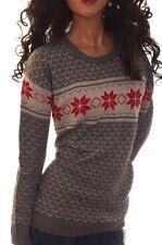 Derek Heart Snow Snowflake Grey Gray White Red Warm Sweater Womens Jr L New