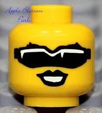 NEW Lego Female Police Agent Girl MINIFIG HEAD w/Black Sunglass Glasses & Smile