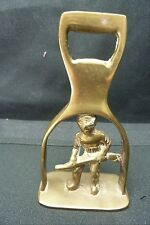 Vintage  ENGLISH Horse Brass Bottle Opener .. HUNTER WITH RIFLE