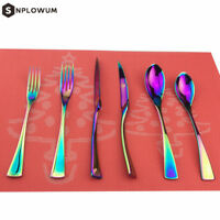 304 Stainless Steel Dinner Tableware Shiny Rainbow Flatware Set,Service for 4