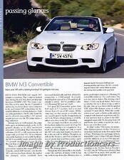 2008 2009 BMW M3 Convertible Original Car Review Print Article J710