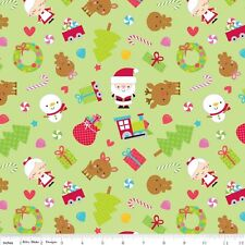 FLANNEL by 1/2 Yard - Riley Blake Christmas Fabric ~ Mr & Mrs Santa, Deer, Trees
