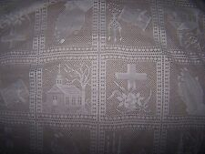"Lace Religious Table Cloth about 58"" by 76"" Rectangular Ivory"