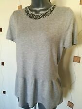 TOP 14 42 MEDIUM M FINE KNIT BEADED MOCK NECKLACE EVENING PARTY OCCASION M&S