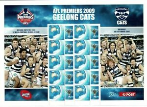"""Special personalized """"P"""" stamps 2009 Australia Geelong football sheet of 10, MUH"""