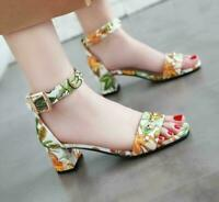 Women's Printed Floral Sandals Chunky Heels Buckle Princess Summer Beaded Shoes