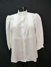 Gr.40 Trachtenbluse weiß Bluse Baumwollmischung mit Spitze TB6955