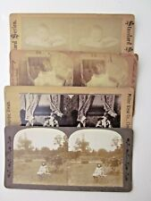 4 ANTIQUE STEREO Views Girls Children Baby Bath Park  PRINTS Laid on Card Stock