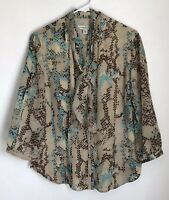 Coldwater Creek Womens L Shirt Blue Brown Button Front Blouse Tie 3/4 Sleeve