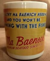 Rare Vintage Advertising Ma Baensch's Herring Tidbits Mug Cup Seafood Since 1932