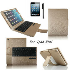 PU Leather Stand Cover With Bluetooth Keyboard For Apple iPad Mini 1 2 3 Gold
